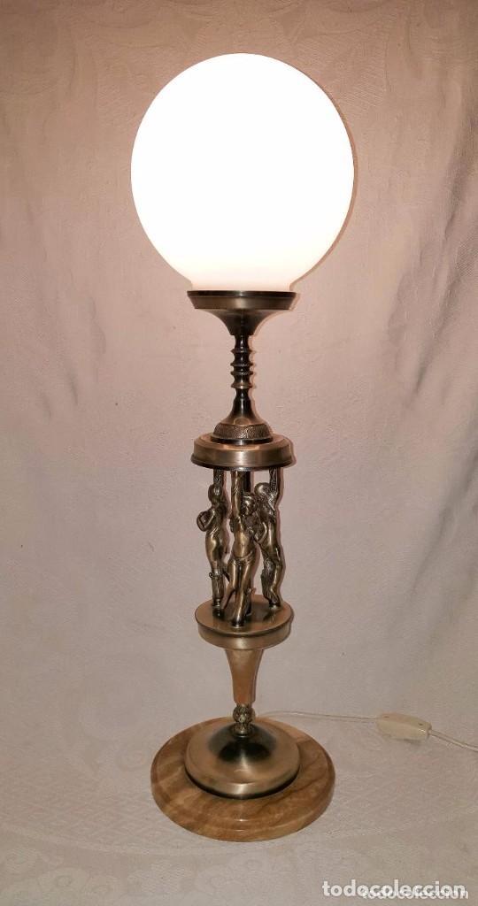 LAMPARA DE SOBREMESA DE BRONCE PLATEADO (Antigüedades - Iluminación - Lámparas Antiguas)