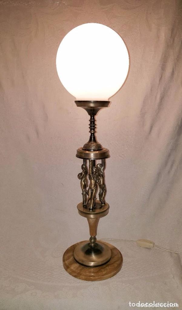 Antigüedades: LAMPARA DE SOBREMESA DE BRONCE PLATEADO - Foto 2 - 141296346