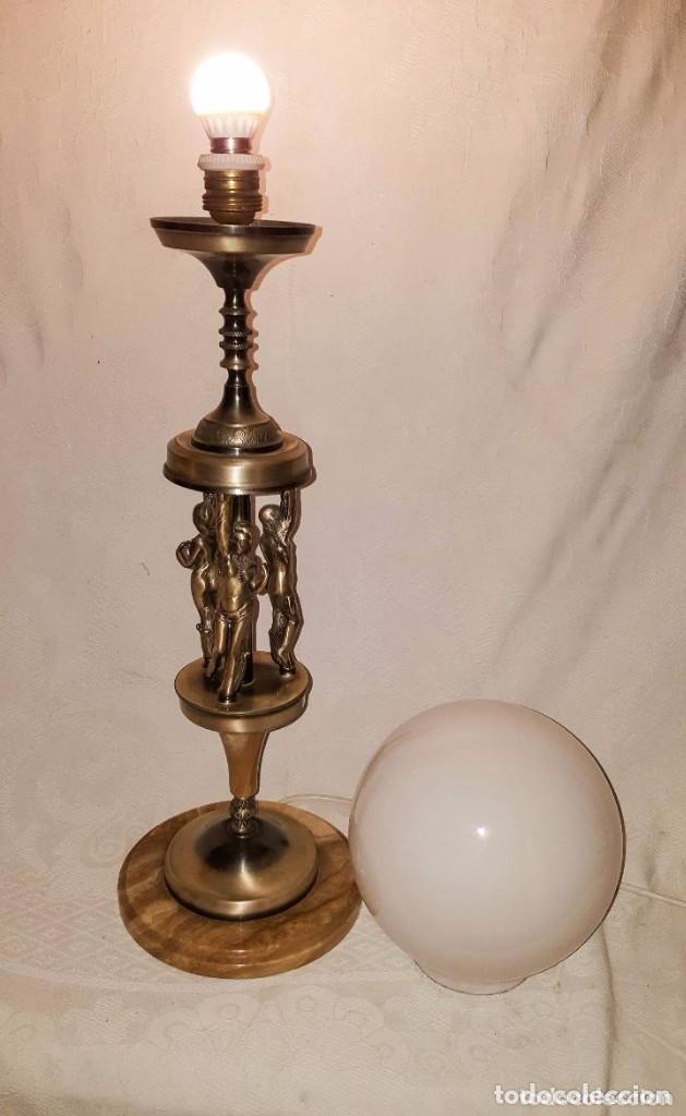 Antigüedades: LAMPARA DE SOBREMESA DE BRONCE PLATEADO - Foto 4 - 141296346