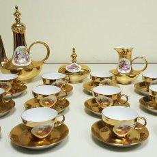 Antigüedades: 1118- ANTIQUISIMO JUEGO CAFE PORCELANA 12 SERVICIOS PAN DE ORO?. Lote 141318730