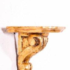 Antigüedades: MÉNSULA DE MADERA Y PAN DE ORO. Lote 141343054