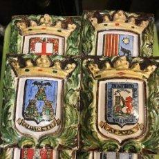 Antigüedades: COLECCION DE 11 AZULEJOS CON LOS ESCUDOS DE LAS PROVINCIAS DE ESPAÑA, COLECCION COMPLETA 250 E. Lote 222246427