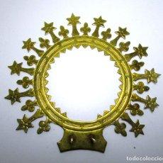 Antigüedades: PRECIOSA CORONA BRONCE DORADO PARA IMAGEN VIRGEN. Lote 213680066