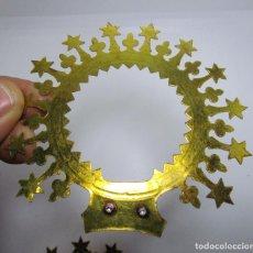 Antigüedades: PRECIOSA CORONA BRONCE DORADO PARA IMAGEN VIRGEN . Lote 141448394