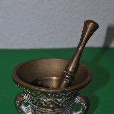 Antigüedades: ALMIREZ DE BRONCE - MORTERO - DECORADO CON GRECAS. Lote 146972752