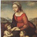 Antigüedades: LÁMINA LITOGRAFIADA RELIGIOSA RAFAEL SANZIO - LA VIRGEN DE LEÓN X (1507). 15X21CM.. Lote 141474434