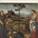 Antigüedades: LÁMINA LITOGRAFIADA RELIGIOSA RAFAEL SANZIO - EL SUEÑO DEL CABALLERO (1505) 15X21CM.. Lote 141475442