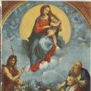 Antigüedades: LÁMINA LITOGRAFIADA RELIGIOSA RAFAEL SANZIO - LA VIRGEN DE FOLIÑO (1512) 15X21CM.. Lote 141475530