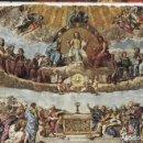 Antigüedades: LÁMINA LITOGRAFIADA RELIGIOSA RAFAEL SANZIO - DISPUTA DEL SANTO SACRAMENTO (1509) 15X21CM.. Lote 141475998