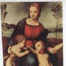 Antigüedades: LÁMINA LITOGRAFIADA RELIGIOSA RAFAEL SANZIO - LA VIRGEN DEL JILGUERO (1507) 15X21CM.. Lote 141478062