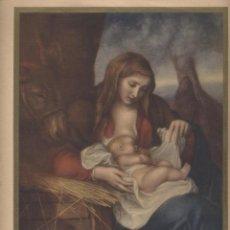 Antigüedades: LÁMINA LITOGRAFIADA RELIGIOSA EL PESEBRE VAN DYCK- 24X33. Lote 141481190