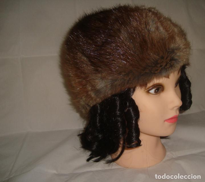 ANTIGUO GORRO DE PIEL TALLA 58 (Antigüedades - Moda - Sombreros Antiguos)