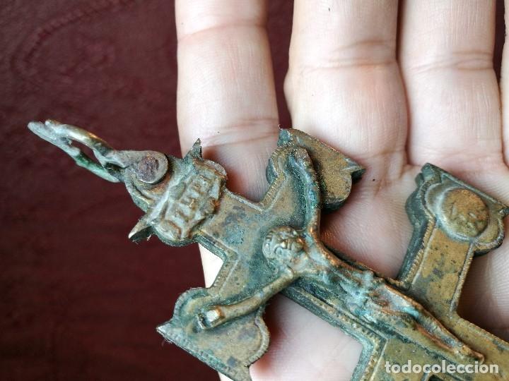 Antigüedades: Antigüa Cruz de Caravaca de bronce siglo XIX - Foto 11 - 141522614