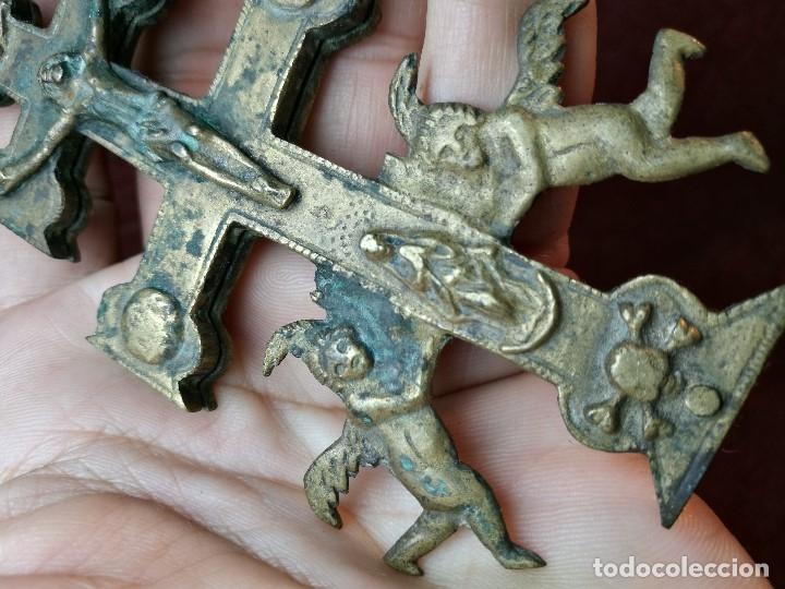 Antigüedades: Antigüa Cruz de Caravaca de bronce siglo XIX - Foto 13 - 141522614