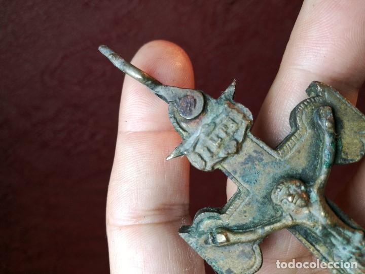 Antigüedades: Antigüa Cruz de Caravaca de bronce siglo XIX - Foto 17 - 141522614