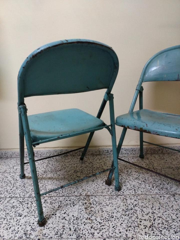 Antigüedades: Pareja de sillas plegables metalicas, Vintage - Foto 3 - 141522746