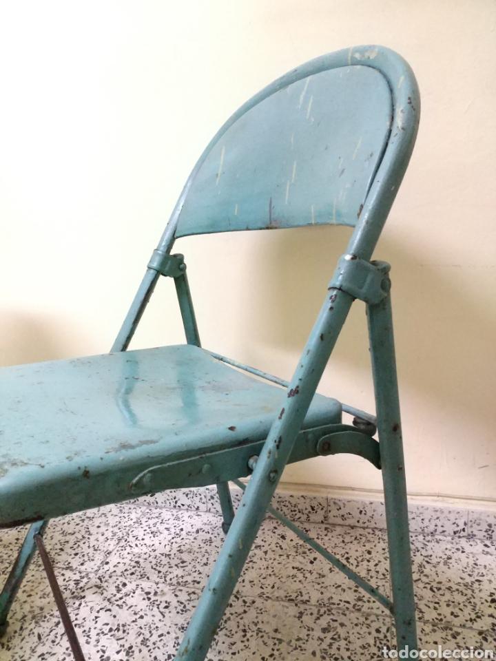 Antigüedades: Pareja de sillas plegables metalicas, Vintage - Foto 4 - 141522746