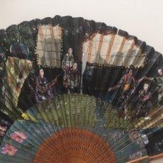 Antigüedades: ANTIGUO ABANICO JAPONÉS EN SEDA NATURAL (CON FALTA). Lote 141523546