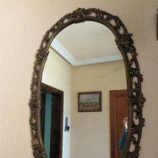 Antigüedades: ELEGANTE ESPEJO ANTIGUO DE BRONCE - 100CM X 60CM. Lote 141536850