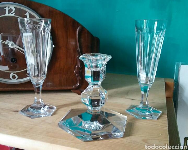 3 PIEZES CRISTAL (PORTAVELAS COM FIRMA VAL SAINT LAMBERT) Y 2 COPAS CRISTAL. (Antigüedades - Cristal y Vidrio - Otros)