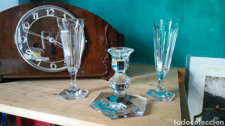 Antigüedades: 3 piezes cristal (portavelas com firma Val Saint Lambert) y 2 copas cristal. - Foto 3 - 141537146