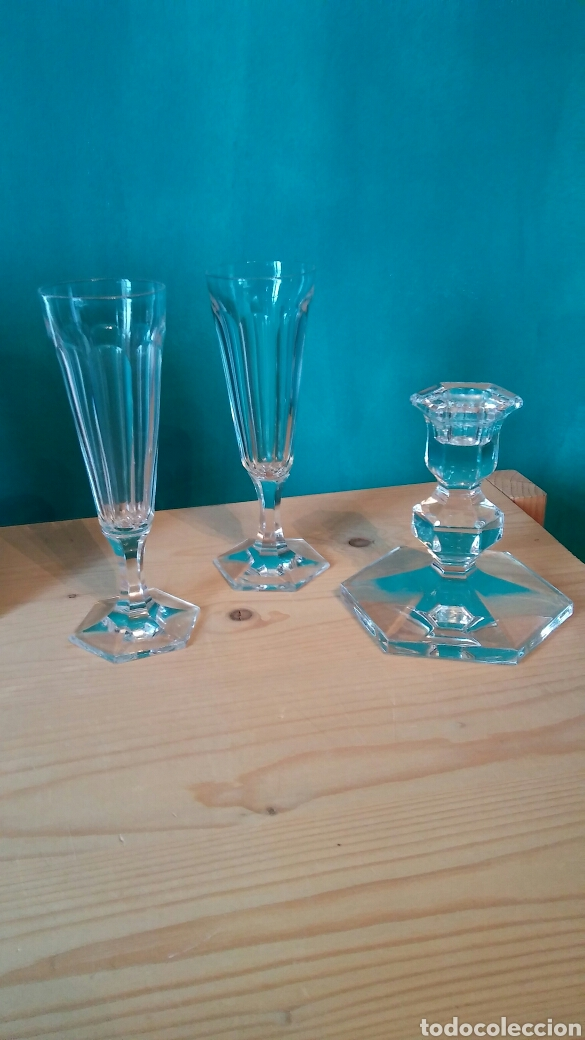 Antigüedades: 3 piezes cristal (portavelas com firma Val Saint Lambert) y 2 copas cristal. - Foto 4 - 141537146