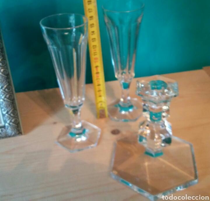 Antigüedades: 3 piezes cristal (portavelas com firma Val Saint Lambert) y 2 copas cristal. - Foto 7 - 141537146