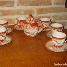 Antigüedades: JUEGO DE CAFE O TE DE PORCELANA JAPONESA EIHO.DIBUJOS EN RELIEVE.. Lote 141562930