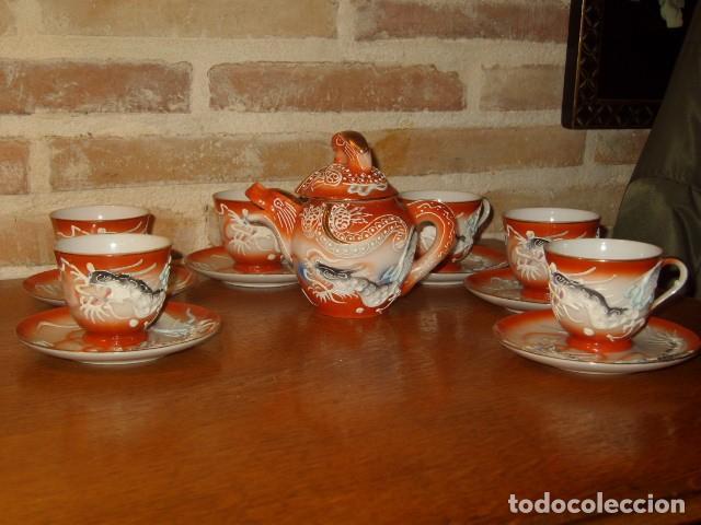 Antigüedades: JUEGO DE CAFE O TE DE PORCELANA JAPONESA EIHO.DIBUJOS EN RELIEVE. - Foto 2 - 141562930