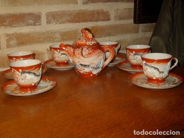 Antigüedades: JUEGO DE CAFE O TE DE PORCELANA JAPONESA EIHO.DIBUJOS EN RELIEVE. - Foto 3 - 141562930