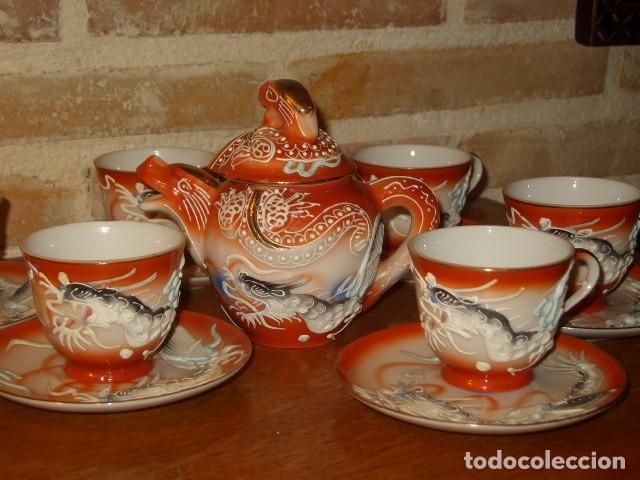 Antigüedades: JUEGO DE CAFE O TE DE PORCELANA JAPONESA EIHO.DIBUJOS EN RELIEVE. - Foto 4 - 141562930