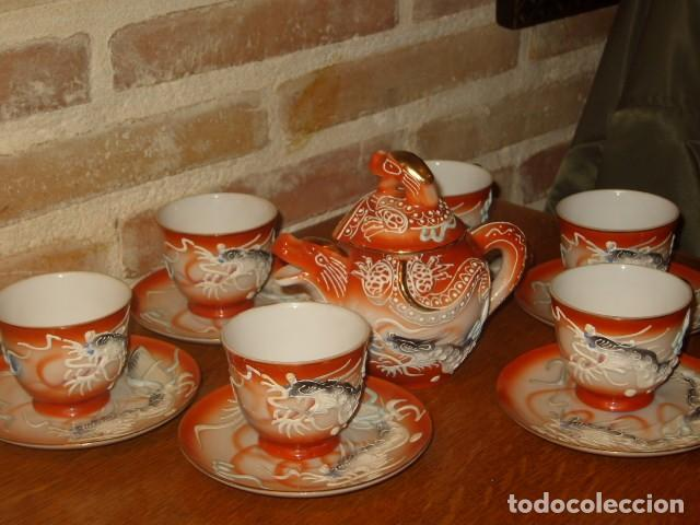 Antigüedades: JUEGO DE CAFE O TE DE PORCELANA JAPONESA EIHO.DIBUJOS EN RELIEVE. - Foto 5 - 141562930