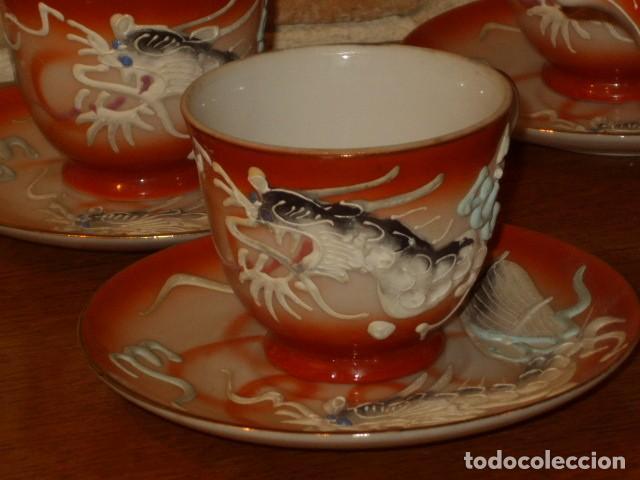 Antigüedades: JUEGO DE CAFE O TE DE PORCELANA JAPONESA EIHO.DIBUJOS EN RELIEVE. - Foto 6 - 141562930