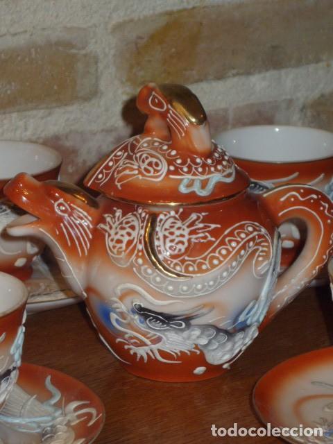 Antigüedades: JUEGO DE CAFE O TE DE PORCELANA JAPONESA EIHO.DIBUJOS EN RELIEVE. - Foto 7 - 141562930