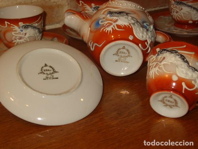 Antigüedades: JUEGO DE CAFE O TE DE PORCELANA JAPONESA EIHO.DIBUJOS EN RELIEVE. - Foto 8 - 141562930