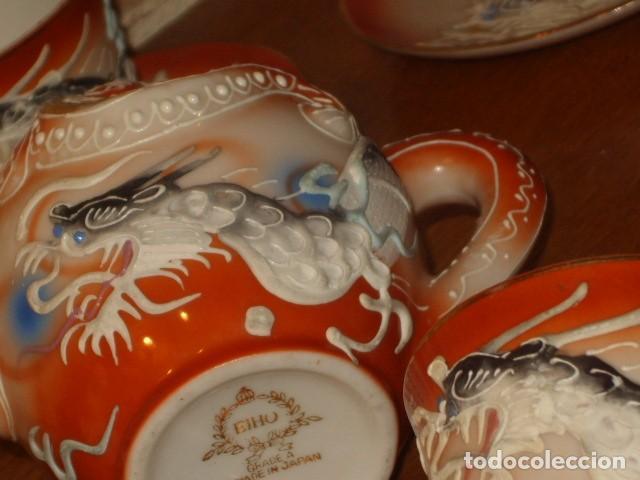 Antigüedades: JUEGO DE CAFE O TE DE PORCELANA JAPONESA EIHO.DIBUJOS EN RELIEVE. - Foto 11 - 141562930