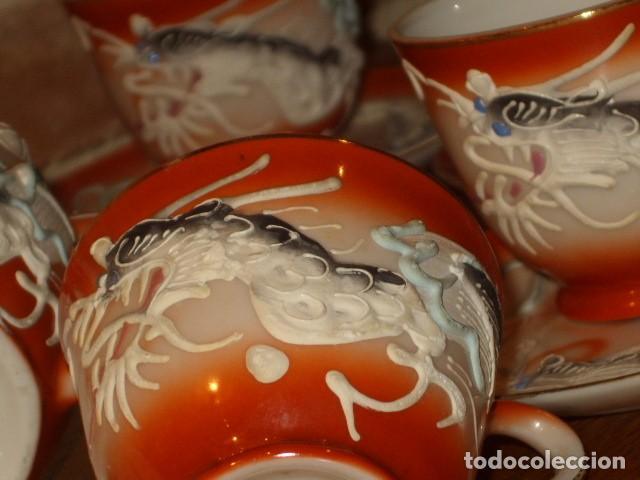 Antigüedades: JUEGO DE CAFE O TE DE PORCELANA JAPONESA EIHO.DIBUJOS EN RELIEVE. - Foto 12 - 141562930