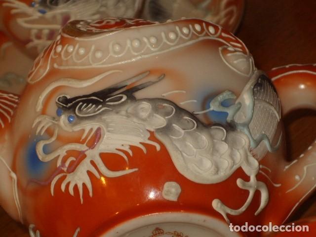 Antigüedades: JUEGO DE CAFE O TE DE PORCELANA JAPONESA EIHO.DIBUJOS EN RELIEVE. - Foto 13 - 141562930