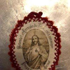 Antigüedades: ANTIGUO ESCAPULARIO DE TELA CORAZÓN DE JESÚS, DETENTE. Lote 141585098
