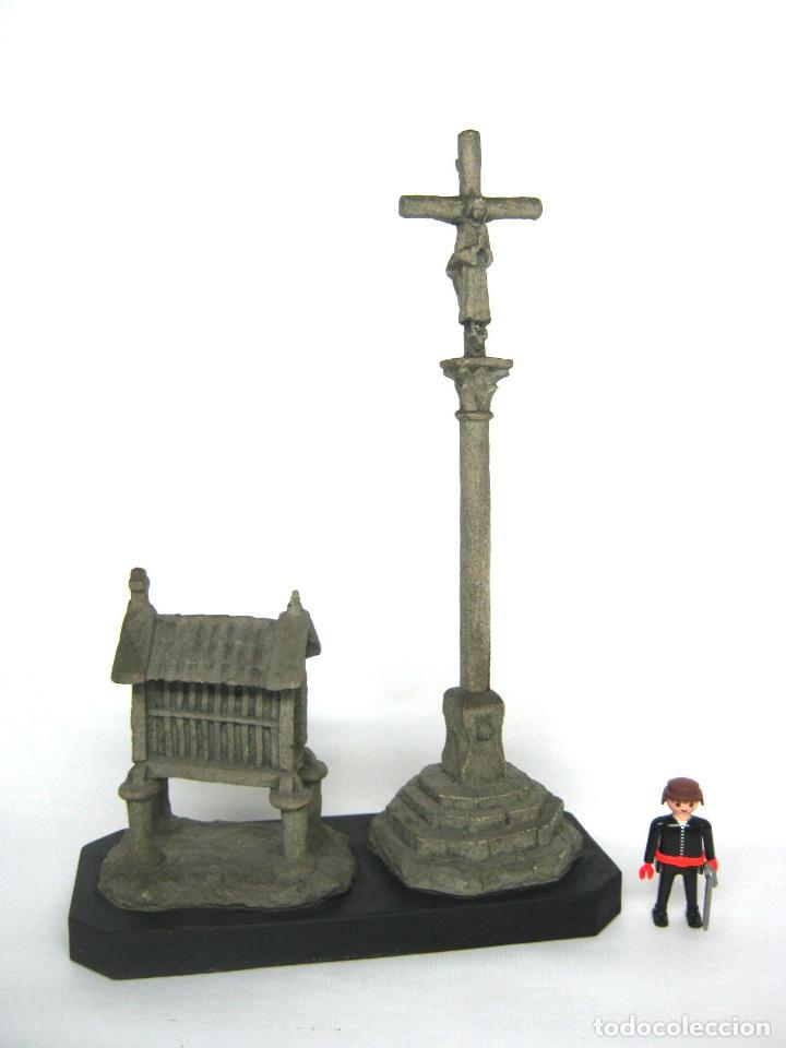 Antigüedades: 38 cm - Horreo y Cruceiro Cruz con peana - Galicia - Camino de Santiago - Foto 2 - 141597734