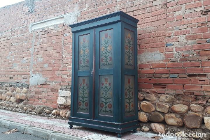Antigüedades: Armario antiguo policromado estilo oriental India. Armario antiguo barroco pintado, alacena antigua - Foto 2 - 141605274