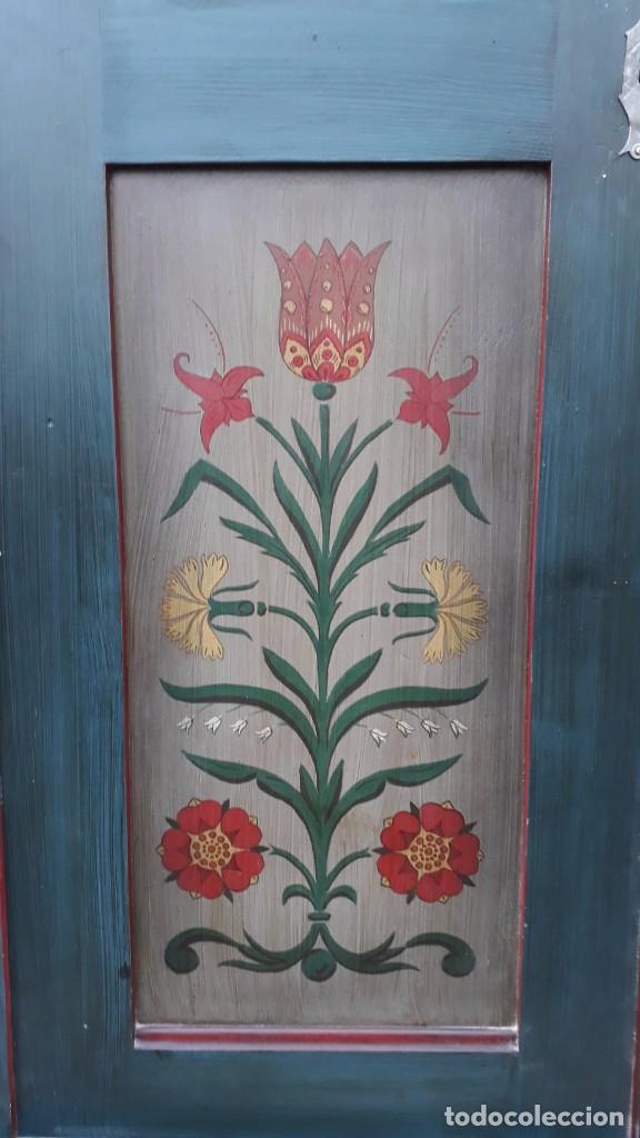 Antigüedades: Armario antiguo policromado estilo oriental India. Armario antiguo barroco pintado, alacena antigua - Foto 6 - 141605274