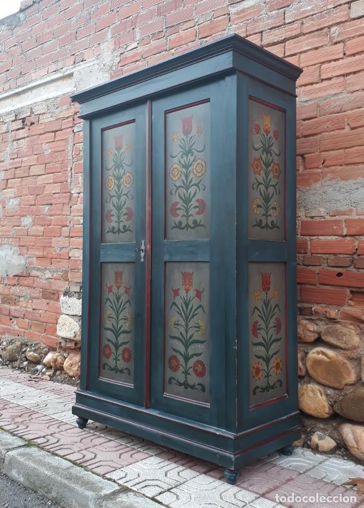 Antigüedades: Armario antiguo policromado estilo oriental India. Armario antiguo barroco pintado, alacena antigua - Foto 13 - 141605274