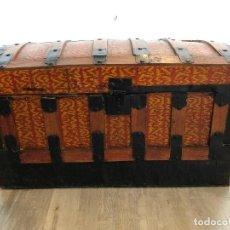 Antigüedades: ARCA-BAUL DE CHAPA Y MADERA. Lote 141645014
