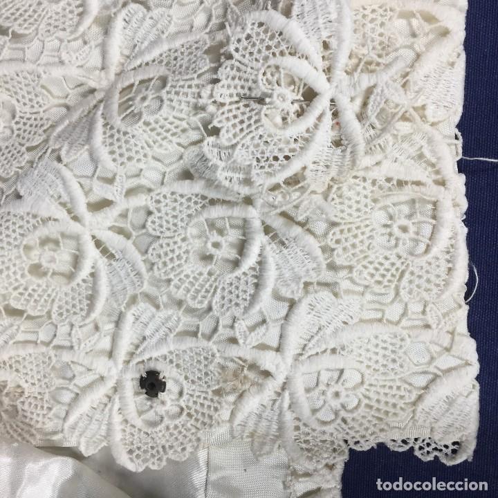 Antigüedades: chaqueta torera encaje guipur raso seda vintage blanco roto manga tres cuartos ceremonia años 50 - Foto 6 - 141662874