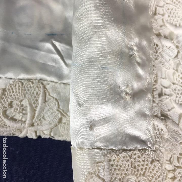 Antigüedades: chaqueta torera encaje guipur raso seda vintage blanco roto manga tres cuartos ceremonia años 50 - Foto 8 - 141662874