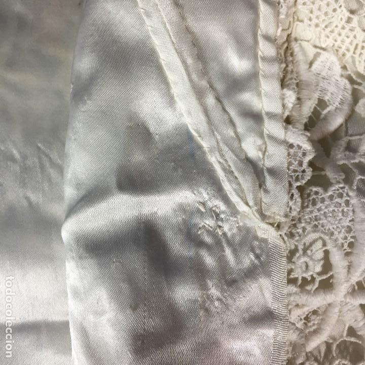 Antigüedades: chaqueta torera encaje guipur raso seda vintage blanco roto manga tres cuartos ceremonia años 50 - Foto 9 - 141662874