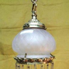Antigüedades: LAMPARA MODERNISTA DE TECHO CON CRISTALES.. Lote 141683354