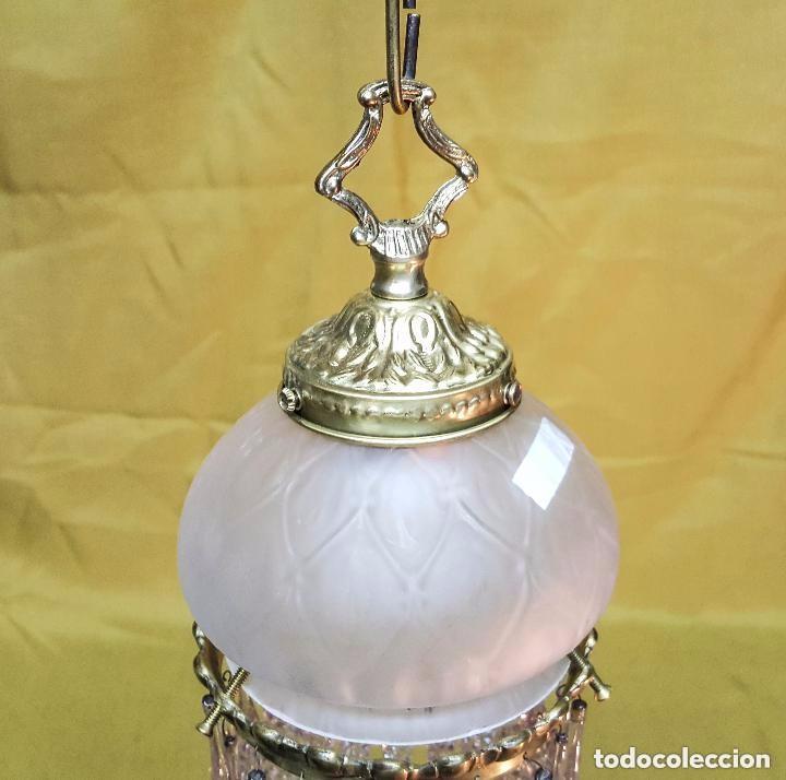 Antigüedades: LAMPARA MODERNISTA DE TECHO CON CRISTALES. - Foto 3 - 141683354