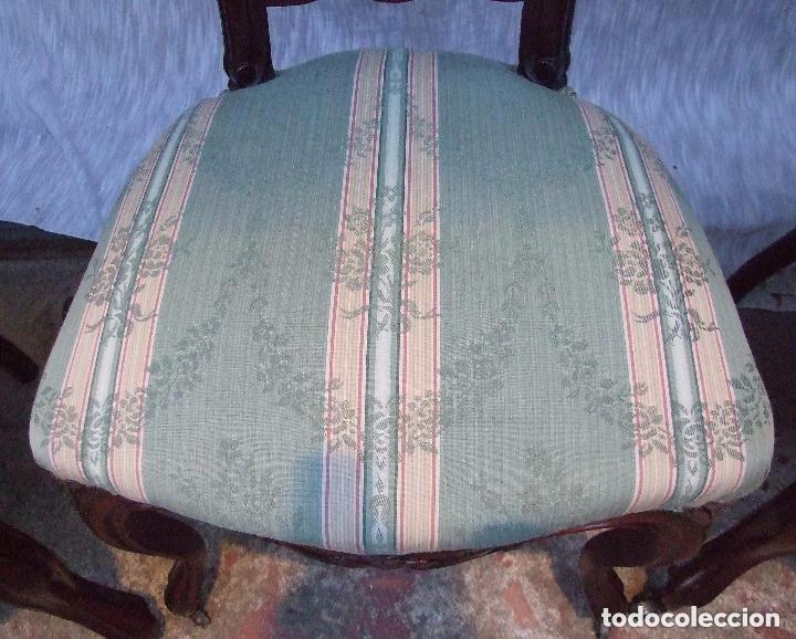 Antigüedades: SILLA INGLESA DE CAOBA TALLADA Y TAPIZADA - Foto 2 - 141691602